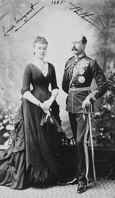 Princess Louise Margaret of Prussia, who became Duchess of Connaught and Strathearn when she married Queen Victoria's third son Prince Arthur in 1879. In this photo with her husband.