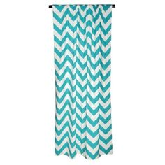 Chevron Curtain Panel in Turquoise from Elisabeth Michael