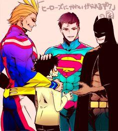 Tags: Anime, Pixiv Id 838633, DC Comics, Batman, Boku no Hero Academia, Superman, Superman (Character)