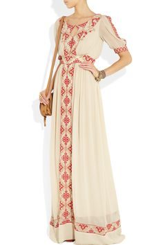 Beautifully Bohemian embroidered crèpe #maxi dress by Alice Temperley