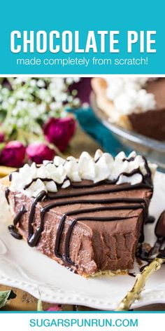 A classic creamy chocolate pie, made completely from scratch!  This recipe is a deliciously simple staple for every home baker, served over a simple homemade pie crust and topped with from-scratch whipped cream!