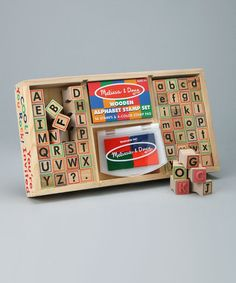 how much fun for little ones learning to spell and work with the alphabet. Love this Alphabet Stamp Set on #zulily! #zulilyfinds