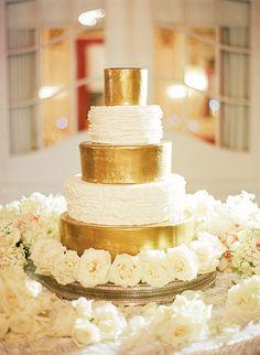 White and Gold Wedding Cake | Brides.com