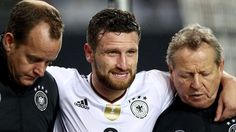 """Arsenal's Shkodran Mustafi """"could be out for a while"""" after suffering a suspected torn ligament during Germany's final World Cup Qualifier against Azerbaijan.  www.ae6688.com"""