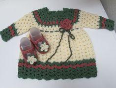 Abiti neonato in lana/Vestitino bimba uncinetto completo di scarpine 0/3 mesi