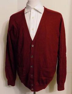 Paul Fredrick Fine Merino Wool Cardigan Sweater Burgundy Size L #PaulFredrick #Cardigan
