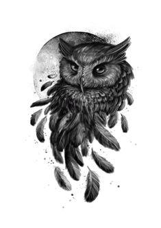 Owl Tattoo Design, Tattoo Designs, Dream Tattoos, Tatoos, Tattoo Studio, Blackwork, Custom Tattoo, Owl Art, Black And Grey Tattoos