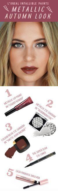 Fall makeup look featuring L'Oreal Infallible Metallic Paint in Liquid Venom, Metallic eye shadow in Aluminum Foil and L'Oreal Lash Paradise mascara