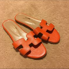 Hermes Oran Sandals Oran Sandals. Brand new never been worn. Orange  leather. Hermes dc06dd8ebde