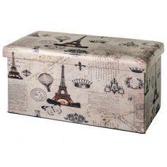 Puff arcón plegable de 74 cm, con estampado con la Torre Eiffel y motivos de época
