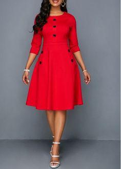 Button Embellished Pocket Red A Line Dress, Button Embellished Pocket Red A Line Dress Cheap women trendy dresses Dresses online for sale Cheap women trendy dresses Dresses online for sale. African Fashion Dresses, African Dress, Dresses Online, Dresses For Sale, Trendy Dresses, Dresses Dresses, Flower Dresses, A Line Dresses, Woman Dresses