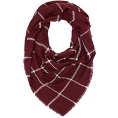 Charlotte Russe Plaid Blanket Scarf ($15) ❤ liked on Polyvore featuring accessories, scarves, plaid, wine combo, plaid scarves, fringe scarves, wrap shawl, fringed shawls und plaid wraps shawls