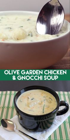 Sunday Dinner Ideas Discover Olive Garden Chicken Gnocchi Soup Copycat Olive Garden Chicken & Gnocchi Soup is super creamy and flavorful with ribbons of spinach and plump gnocchi throughout. Gnocchi Recipes, Easy Soup Recipes, Chicken Recipes, Dinner Recipes, Cooking Recipes, Healthy Recipes, Healthy Soup, Chicken Alfredo Soup Recipe, Olive Garden Chicken Gnocchi Soup Recipe