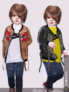 Studio K-Creation - EMB Jacket toddler version for The Sims 4 Jean Jacket Hoodie, Silk Bomber Jacket, Sims 4 Cas, Sims Cc, Sims 4 Toddler, Toddler Girl, Sims 4 Cc Kids Clothing, Sims 4 Studio, Sims 4 Cc Shoes