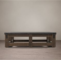 "Reclaimed Wood & Zinc Strap Square Coffee Table $1270 60"" square 15 3/4 "" H"