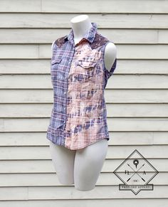 A personal favorite from my Etsy shop https://www.etsy.com/listing/234884836/womens-bleached-sleeveless-blue-upcycled