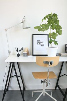 Inspiration for a cool desk + Sawhorses and a slab of metal, concrete, stone or glass.