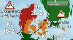 TV 2 VEJRET varsler: Vindstød af orkanstyrke i dele af landet søndag 29.11.15 (pinnet lørdag)