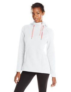 Spyder Women's Interess Half Zip Sweater, White/Bryte Pink, Large. Zippered hand pockets. Nonremoveable hood. Herringbone draw cord at hood. Exposed center front half zipper. Brushed microfiber inner chin guard.