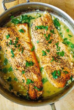 Trout with Garlic Lemon Butter Herb Sauce http://juliasalbum.com/2015/10/trout-with-garlic-lemon-butter-herb-sauce/