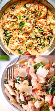 This Creamy Parmesan Basil Shrimp is a restaurant quality dish you can make at home! Creamy luscious sauce envelops plump shrimp, perfect for serving over pasta, or make it keto and serve with spaghetti squash instead! Shrimp Recipes Easy, Fish Recipes, Meat Recipes, Seafood Recipes, Cooking Recipes, Healthy Recipes, Healthy Food, Courge Spaghetti, Shrimp Dishes