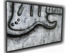 $99 Modern black and white guitar painting by The Colleen Art Studio