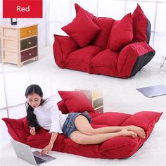 2019 Linen Fabric Upholstery Adjustable Floor Sofa Bed Lounge Sofa Bed Floor Lazy Man Couch Living Room Furniture Video Gaming Sofa From Klphlp01, $201.01 | DHgate.Com Sofa Bed Lounge, Couch, Living Room Sofa, Living Room Furniture, My Room, Dorm Room, Folding Sofa, Sofa Material, Japanese Furniture