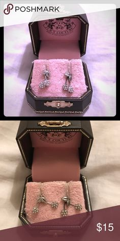 Juicy Couture Rhinestone Cherry earrings. Adorable! The stems are not stationary. They have movement when worn. Juicy Couture Jewelry Earrings
