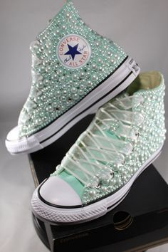 Bridal Converse- Wedding Converse- Bling & Pearls Custom Converse Sneakers- Personalized Chuck Taylors- All Star Converse Sneakers- Bride by DivineUnlimited on Etsy Bedazzled Converse, Bridal Converse, Wedding Sneakers, Wedding Shoes, Bride Sneakers, Bridal Shoes, Diy Wedding, Converse Sneakers, Best Sneakers