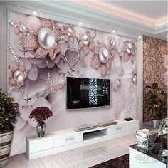 beibehang Custom photo wallpaper mural exquisite luxury jewelry flowers installed TV backdrop papel de parede wall paper Source by 3d Wallpaper For Hall, 3d Wallpaper Design For Bedroom, 3d Wallpaper Home, 3d Wallpaper Living Room, Wallpaper Decor, Custom Wallpaper, Photo Wallpaper, Wallpaper Wallpapers, Living Room Decor