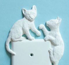 Kitten Decor LIght Switch Plate Outlet Cover White Cat Home Wall Art Carving Carved Gifts Sculptures Ornaments Decorative Housewares $12.99 + $3.00 shipping