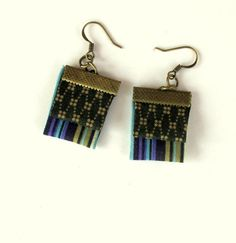 Whimsical hand folded fiber earrings by Gilgulim on Etsy, $14.80