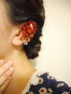 紫陽花イヤーカフ アクセサリー プリザーブドフラワー ドライフラワー 花 flower flowers accessory
