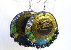 Purple Upcycled Bottlecap and Oilcloth Earrings by romualda, $20.00