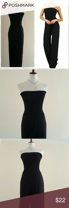 Modern Kiwi Black strapless Jumpsuit Versatile black jumpsuit that you can accessorize any way you'd like. Great for a casual day! Smocked top. Flattering fit. Inseam 31' 95% rayon 5% spandex Modern Kiwi Pants Jumpsuits & Rompers