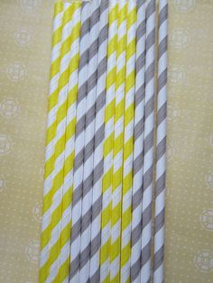 24 Grey & Yellow Striped Paper Straws by DKDeleKtables on Etsy