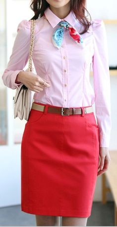 Pink, Red, Nude, Blue Outfit