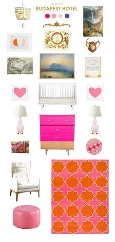 i love the bright pops of pink and orange for the girls room