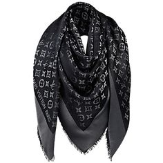 Pre-owned Louis Vuitton Black Monogram Shine Shawl M75123 ($390) ❤ liked on Polyvore featuring accessories, scarves, black, louis vuitton shawl, shawl scarves, monogrammed scarves, monogram shawl and black scarves