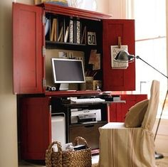 By converting an armoire with desktop and shelves, you can whip up a home office just about anywhere. Consider adding a pull-out keypad shelf for better ergonomics and, for electrical access, drill a cord hole in the back.