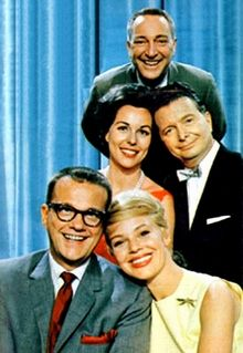 I've Got a Secret. From the top: Gary Moore, Bess Myerson, Henry Morgan, Bill Cullen, Betsy Palmer.