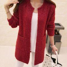 OHRYIYIE Autumn Winter Women Casual Long Sleeve Knitted Cardigans 2017 New Crochet Ladies Sweaters Fashion Tricotado Cardigan