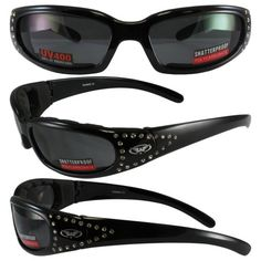 3fa82cd816 Marilyn Womens Black Frame Smoke Lenses Motorcycle Riding Glasses With Bling