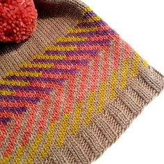 Zam Hat by Alex Tinsley | malabrigo Worsted in Franck Ochre, Cuarzo, Mineral Red and Chapel Stone