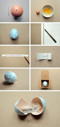 Hidden message in eggshell, So cute!