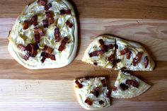 Bacon, onion, cream pizza