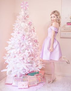 A Pretty & Pastel Christmasoff the shoulder dress, white christmas tree, pastel christmas, pastel christmas decor, kate spade glitter heels, slmissglam makeup brushes, hair bow, pink ornaments