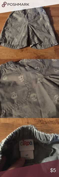 Circo brand, size 3T shorts Circo brand gray shorts with white skulls size 3T!! EUC, no damage, stains or tears! Smoke free home! Don't forget to bundle! Circo Bottoms Shorts