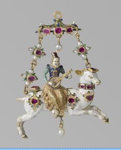 Lute player on a white dear, pendant, gold, enamel, pearls and rubies. Germany, circa 1600