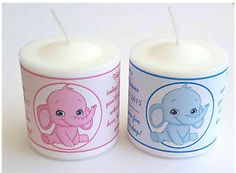 14 Pink Elephant or Blue Elephant Baby Shower Favors Votive Candle Labels | eBay